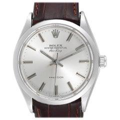 Rolex Air King Silver Dial Brown Strap Vintage Steel Men's Watch 5500