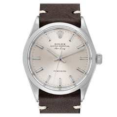 Rolex Air King Silver Dial Brown Strap Vintage Steel Men's Watch 5500