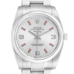 Rolex Air King Silver Dial Pink Index Hour Markers Steel Watch 114200
