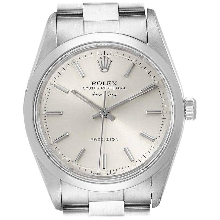 Rolex Air King Silver Dial Smooth Bezel Steel Men's Watch 14000 For Sale