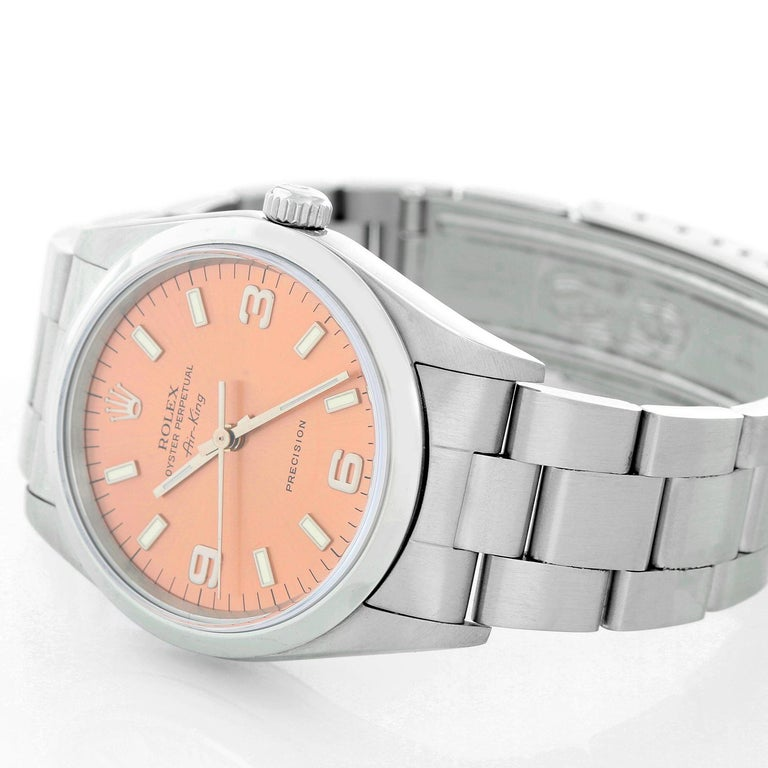 Rolex Air King Stainless Steel Men's Watch 14000 In Excellent Condition For Sale In Dallas, TX