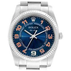 Rolex Air King Steel 18 Karat White Gold Blue Dial Watch 114234 Box