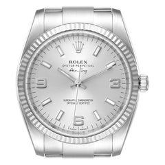 Rolex Air King Steel White Gold Fluted Bezel Mens Watch 114234