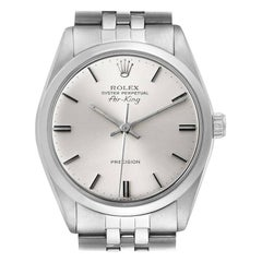 Rolex Air King Vintage Stainless Steel Silver Dial Men's Watch 5500