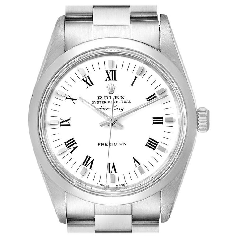 Rolex Air King White Dial Domed Bezel Men's Watch 14000 Box For Sale