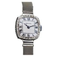 Rolex Art Deco Ladies 18 Karat White Gold Rolex with Diamond Case