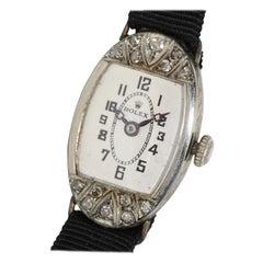 Rolex, Art Deco Ladies Wristwatch, 18 Karat White Gold with Diamonds