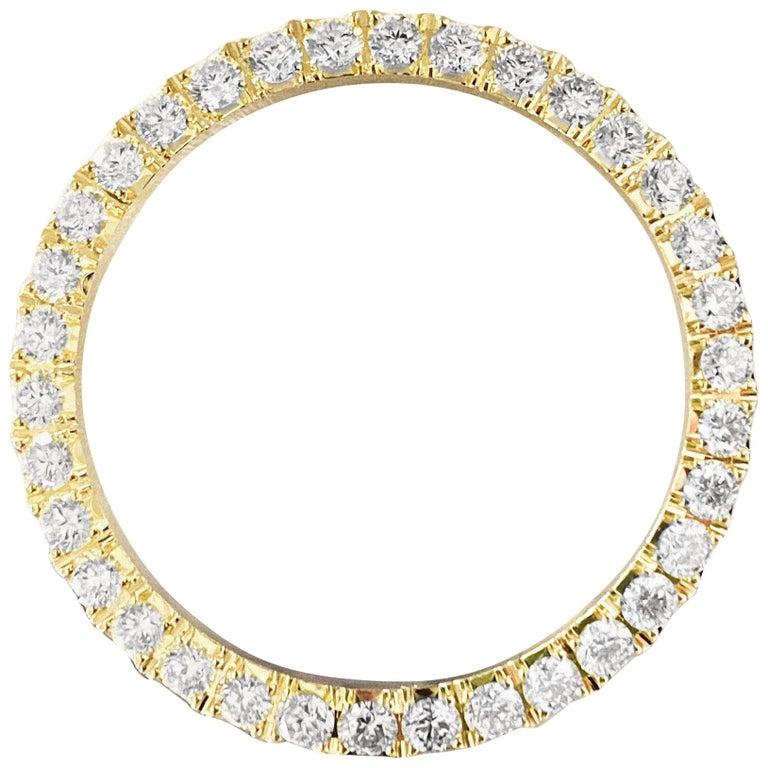 Rolex Bezel 4.50 Carat VVS Diamonds 14 Karat Yellow Gold For Sale