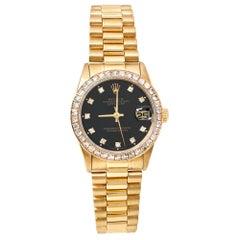 Rolex Black 18K Yellow Gold Diamond Datejust 68278 Women's Wristwatch 31 mm