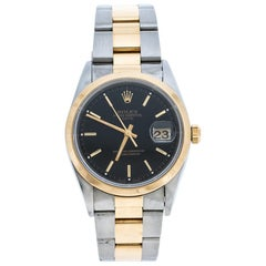 Rolex Black 18K Yellow Gold Oyster Perpetual Date 15203 Men's Wristwatch 34 mm