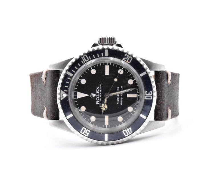 Rolex Black/Black Vintage Submariner Ref.#5513 on Brown Leather Strap In Good Condition For Sale In Scottsdale, AZ
