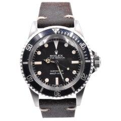 Rolex Black/Black Vintage Submariner Ref.#5513 on Brown Leather Strap