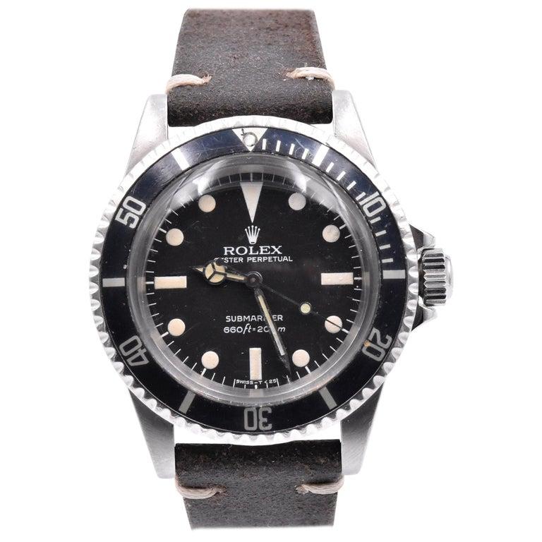 Rolex Black/Black Vintage Submariner Ref.#5513 on Brown Leather Strap For Sale