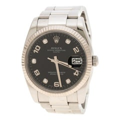 Rolex Black Stainless Oyster Perpetual Date 115234 Women's Wristwatch 34 mm