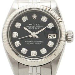 Rolex Black Stainless Steel Datejust Women's Wristwatch 26MM