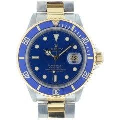Rolex Blue 16613 Submariner Two Dial Men's Watch