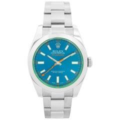 "Rolex ""Blue"" Milgauss Stainless Steel Men's Watch 116400 GV"