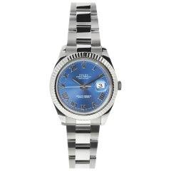 Rolex Blue Roman 116334 Datejust Ii Dial Fluted Bezel Stainless Steel Watch