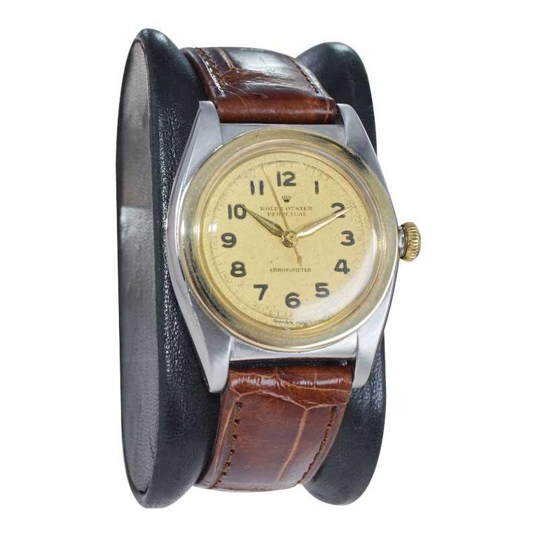 Women's or Men's Rolex Bubble Back Steel with Yellow Gold Bezel, Original Dial, circa 1940s For Sale