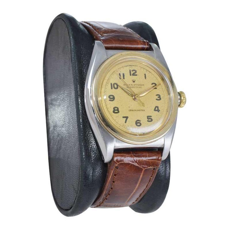 Rolex Bubble Back Steel with Yellow Gold Bezel, Original Dial, circa 1940s For Sale 1