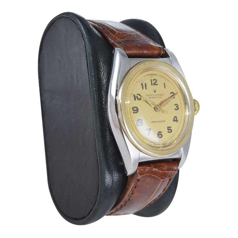 Rolex Bubble Back Steel with Yellow Gold Bezel, Original Dial, circa 1940s For Sale 2