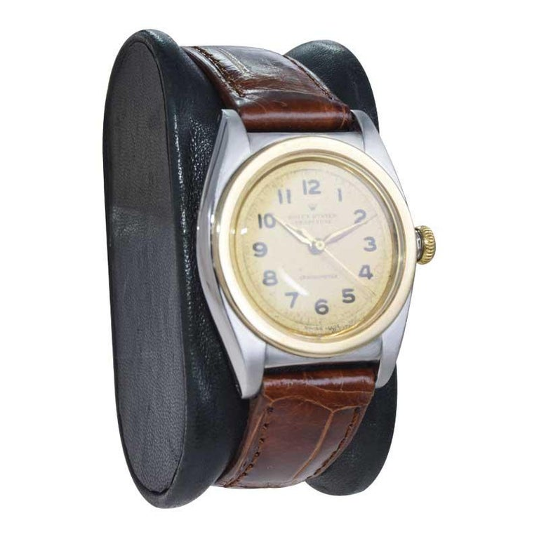Rolex Bubble Back Steel with Yellow Gold Bezel, Original Dial, circa 1940s For Sale 3