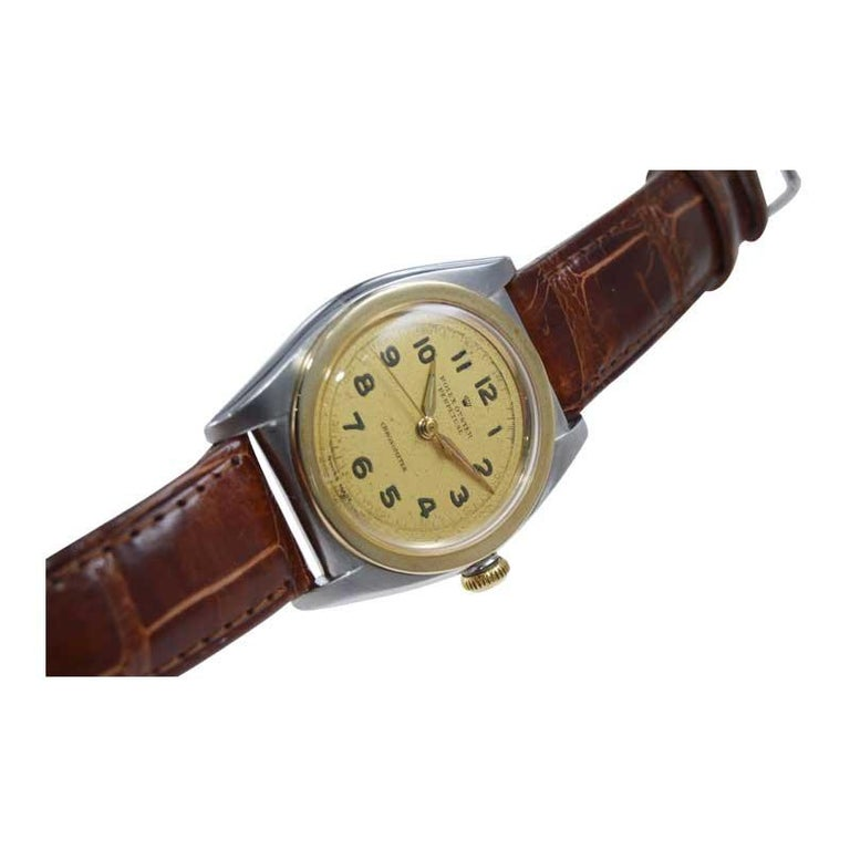Rolex Bubble Back Steel with Yellow Gold Bezel, Original Dial, circa 1940s For Sale 4