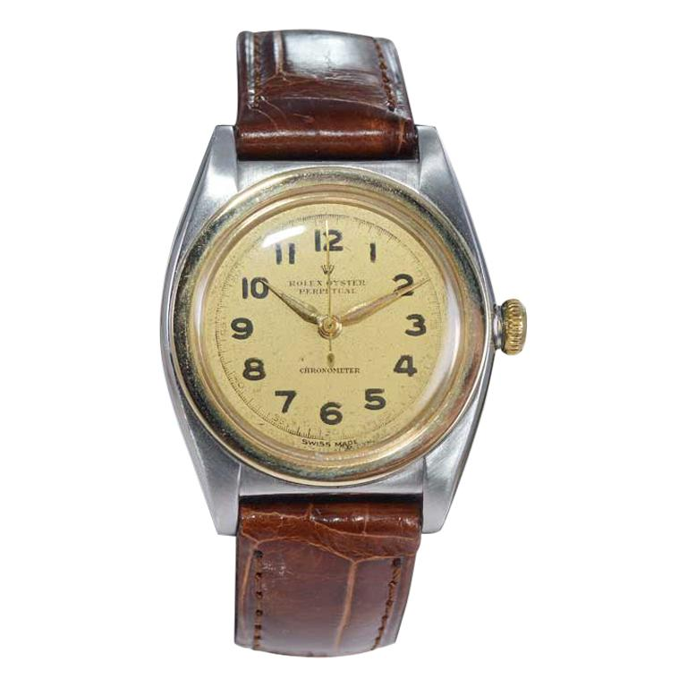 Rolex Bubble Back Steel with Yellow Gold Bezel, Original Dial, circa 1940s For Sale