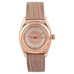 Rolex Bubbleback Pink Gold Pink Dial Wristwatch