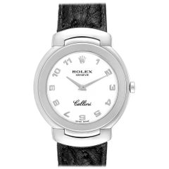 Rolex Cellini 18 Karat White Gold Black Strap Ladies Watch 6622