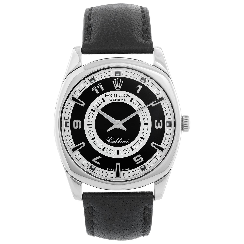 Rolex Cellini 18 Karat White Gold Men's Watch Black Dial 4243
