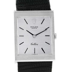 Rolex Cellini 18 Karat White Gold Silver Dial Men's Vintage Watch 4014
