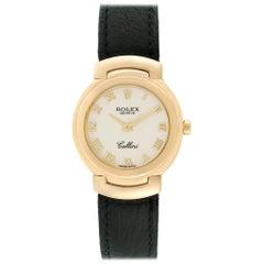 Rolex Cellini 18 Karat Yellow Gold Black Strap Ladies Watch 6622