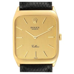 Rolex Cellini 18 Karat Yellow Gold Black Strap Men's Vintage Watch 4135