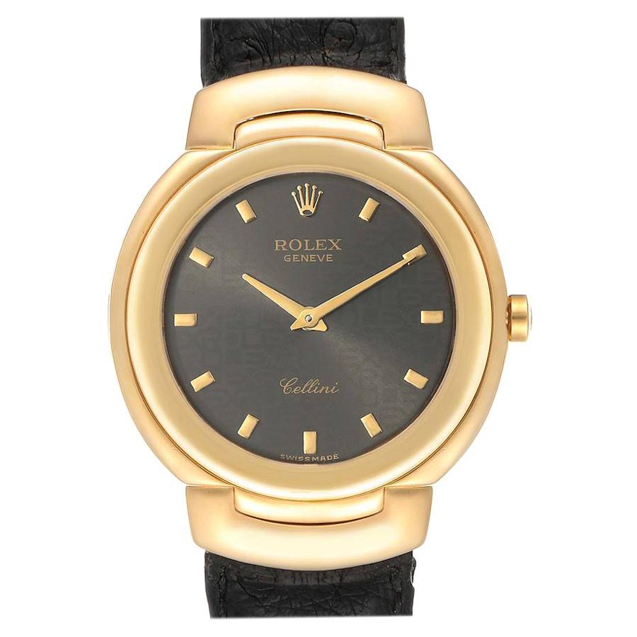 Rolex Cellini 18 Karat Yellow Gold Grey Dial Black Strap Men's Watch 6622