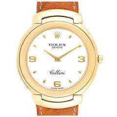 Rolex Cellini 18 Karat Yellow Gold White Dial Brown Strap Men's Watch 6623