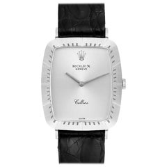 Rolex Cellini 18k White Gold Black Strap Mens Vintage Watch 4087