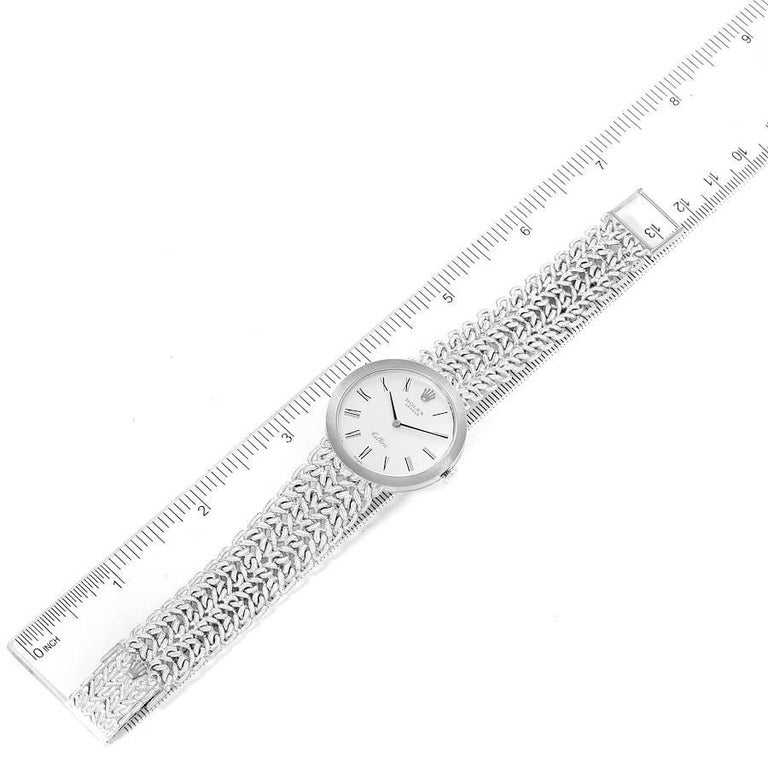 Rolex Cellini 18k White Gold Silver Dial Vintage Mens Watch 3838 For Sale 6