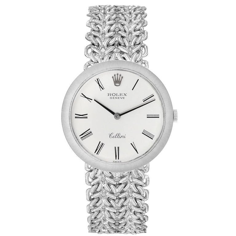 Rolex Cellini 18k White Gold Silver Dial Vintage Mens Watch 3838. Manual winding movement. 18k white gold slim case 31 mm in diameter. Rolex logo on a crown. . Scratch resistant sapphire crystal. Flat profile. Silver dial with printed roman numeral