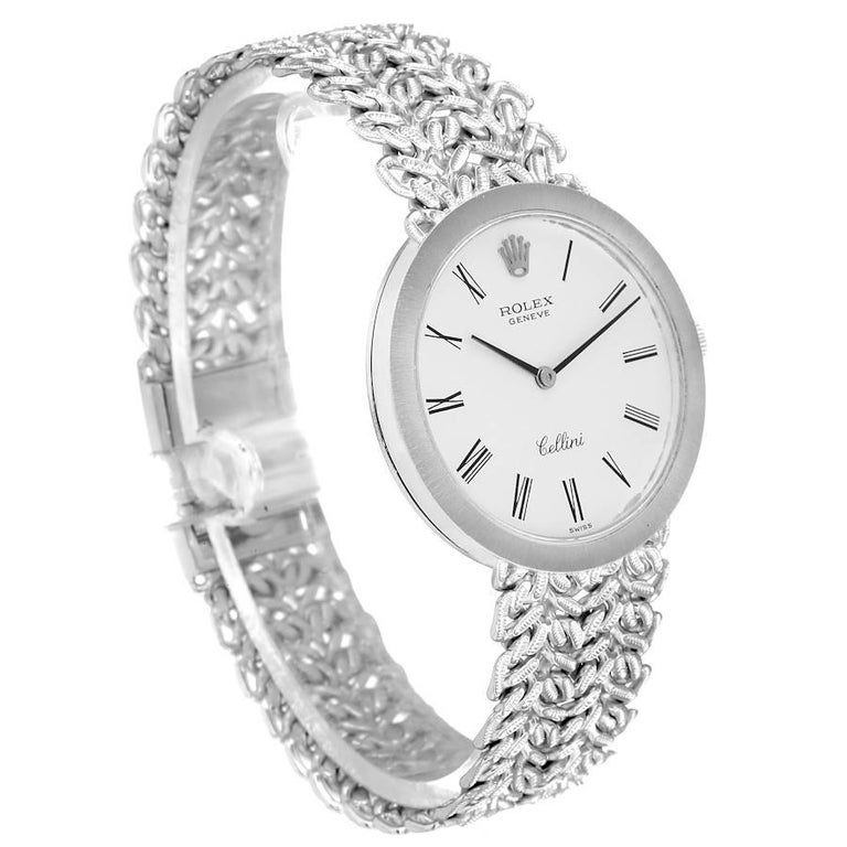 Rolex Cellini 18k White Gold Silver Dial Vintage Mens Watch 3838 In Good Condition For Sale In Atlanta, GA