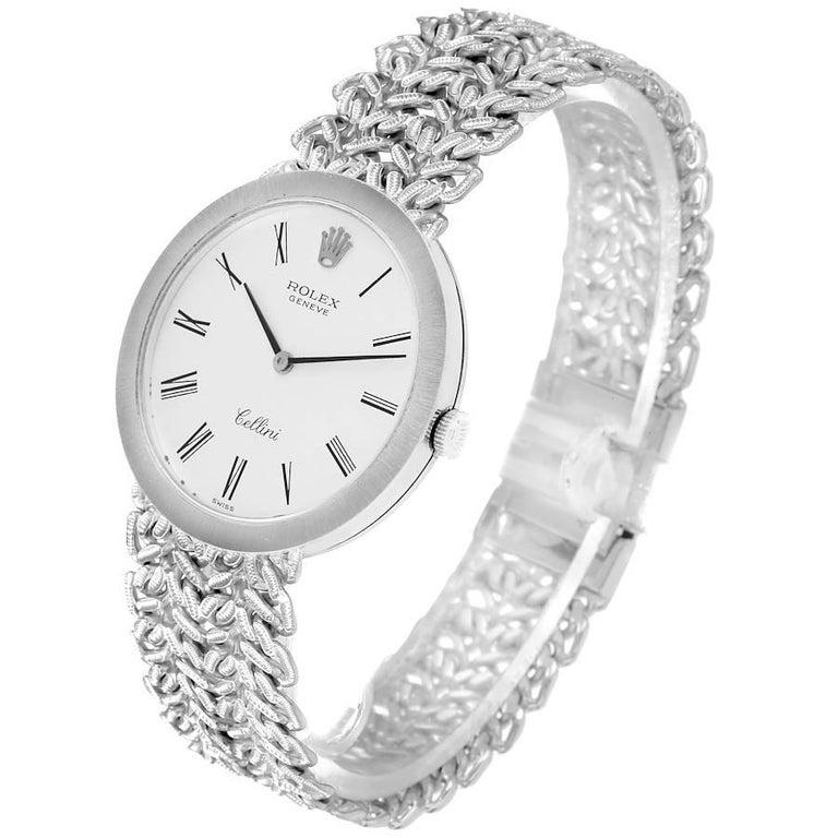 Men's Rolex Cellini 18k White Gold Silver Dial Vintage Mens Watch 3838 For Sale