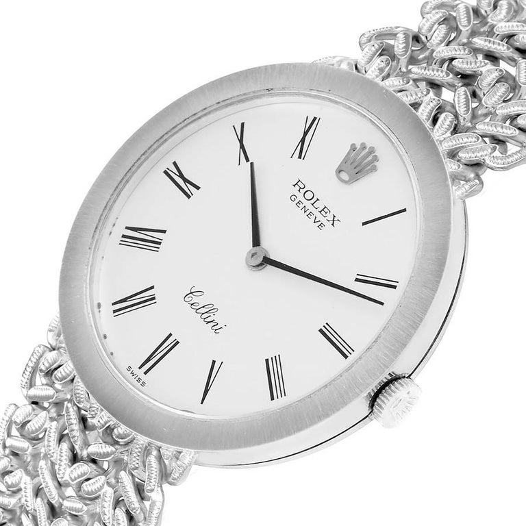 Rolex Cellini 18k White Gold Silver Dial Vintage Mens Watch 3838 For Sale 1