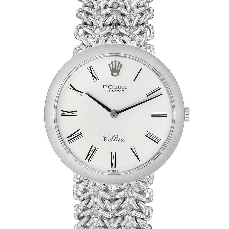 Rolex Cellini 18k White Gold Silver Dial Vintage Mens Watch 3838 For Sale