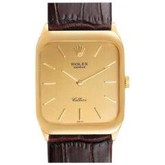 Rolex Cellini 18k Yellow Gold Brown Strap Mens Vintage Watch 4135