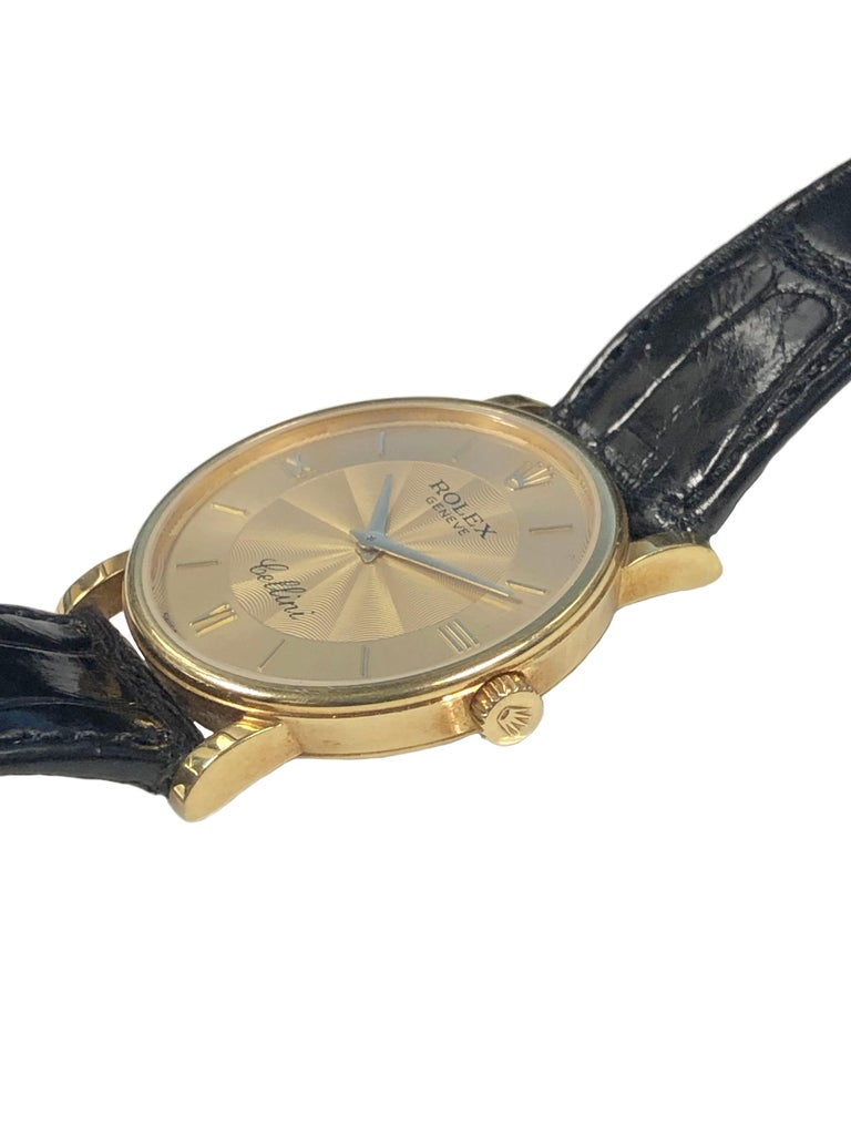 Rolex Cellini 5115 Yellow Gold Mechanical Wristwatch In Excellent Condition In Chicago, IL