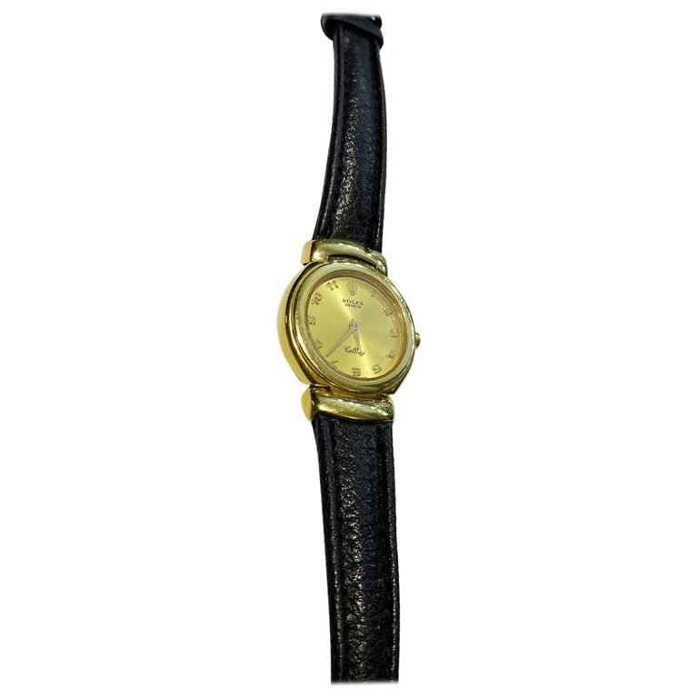 Rolex Cellini 6621 18 Karat Solid Yellow Gold Quartz Leather Ladies Watch For Sale
