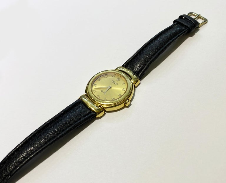 ROLEX CELLENI 6621 18K SOLID YELLOW GOLD QUARTZ LEATHER LADIES WATCH.  Lovely ladies Rolex Celleni 6621 in 18k solid yellow gold case with a Corum black waterproof leather strap.   -Condition: Good cosmetic, Perfect functioning -Brand: Rolex -Style: