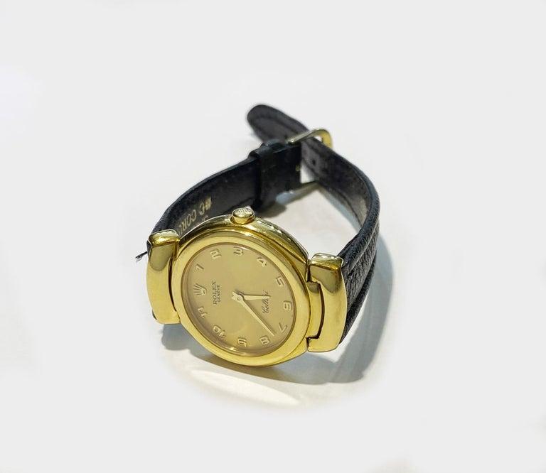 Women's Rolex Cellini 6621 18 Karat Solid Yellow Gold Quartz Leather Ladies Watch For Sale
