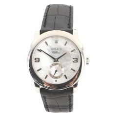 Rolex Cellini Cellinium Manual Watch Platinum and Alligator with Mother of Pearl