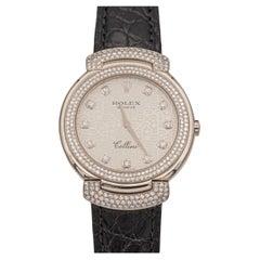 Rolex Cellini Cellissima 18k White Gold Diamond Quartz Movement Ladies6683 Watch